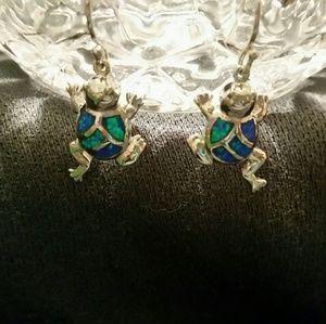 925 Silver Frog Earrings Blue Fire Opal Inlays
